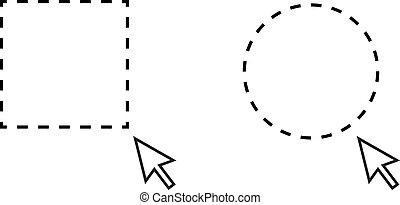 círculo, selección, indicador, rectángulo