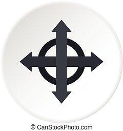 círculo, setas, alvo, ícone