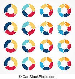 círculo, setas, infographic, diagrama, 3, 4, 5, 6