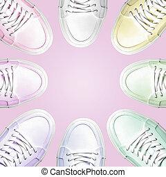 círculo, sneakers., coloridos
