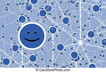 círculo, social, red, amigo, en línea