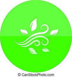 círculo, soprando, -, folhas, ícone