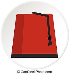 círculo, turco, fez, rojo, icono
