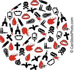 círculo, vampiro, ícones