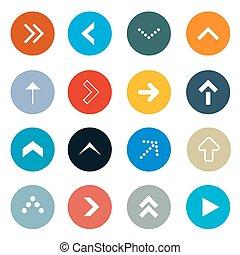 círculo, vector, flechas, conjunto