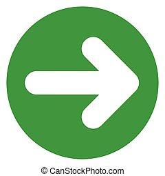 círculo, verde, ícone seta