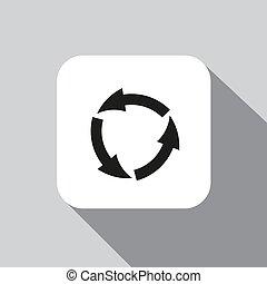 círculo, vetorial, ícone seta