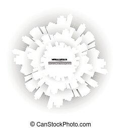 círculo, vetorial, city., modernos