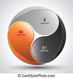 círculo, vetorial, conceito, modelo