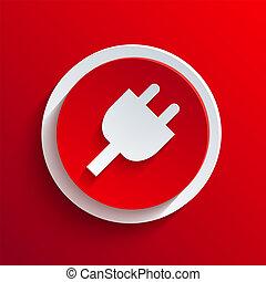 círculo, vetorial, eps10, icon., vermelho