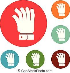 círculo, vetorial, jogo, mão, ícones
