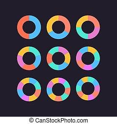 círculo, vetorial, jogo, segmentos