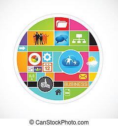 círculo, vetorial, negócio
