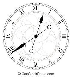 círculo, vetorial, pretas, relógio