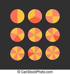 círculo, vetorial, segmentos