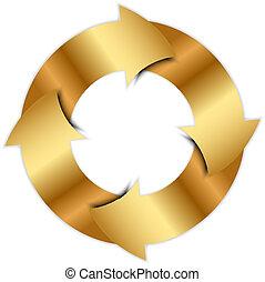 círculo, vetorial, setas, ouro