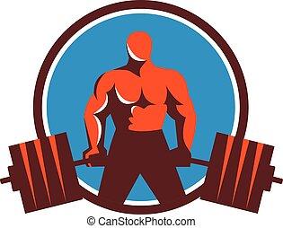 círculo, weightlifter, midlift, retro