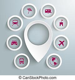 círculos, ícones, 8, viagem, marcador, piad, localização, ...