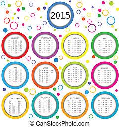 círculos, 2015, calendário, crianças, colorido