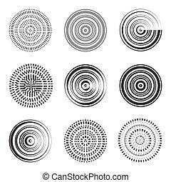 círculos, abstratos, círculo, element., concêntrico
