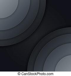 círculos, abstratos, cinzento, escuro, vetorial, papel, fundo