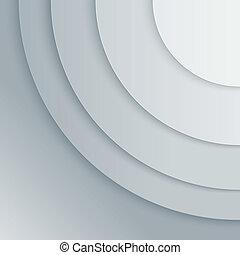 círculos, abstratos, cinzento, papel, vetorial, fundo