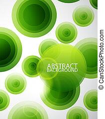 círculos, abstratos, experiência verde