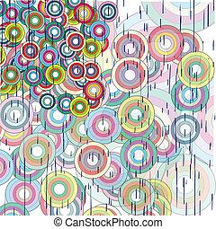círculos, abstratos, grunge, fundo