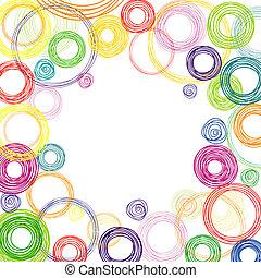 círculos, abstratos, quadrado, experiência colorida