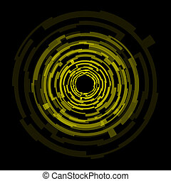 círculos, abstratos, tecnologia, fundo amarelo