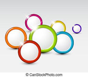 círculos, abstratos, vetorial, fundo