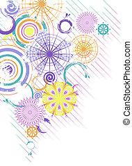 círculos, abstratos, vetorial, multicolor, fundo