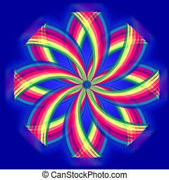 círculos, arco íris, flor, sobre, azul, cores, mandala