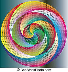 círculos, arco íris, giro, multicolored