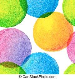 círculos, arco íris, luminoso, pintado, padrão, seamless, aquarela, cores