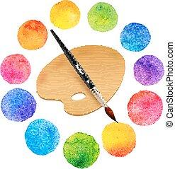 círculos, arco íris, paleta, pintado, aquarela, madeira, cores, escova