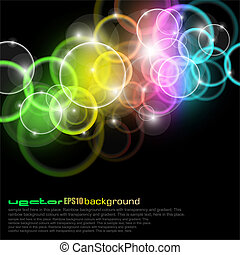círculos, arco iris colora, brillo
