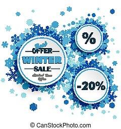 círculos, azul, inverno, venda, snowflakes, branca