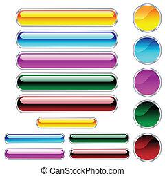 círculos, botões, arredondado, sortido, cores, lustroso, ...