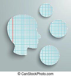 círculos, cabeça, verificado, 3, papel, human