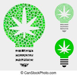 círculos, cannabis, colagens, inovação, bulbo, quadrados, ícone