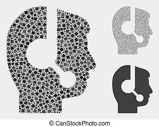 círculos, centro, chamada, operador, quadrados, mosaicos, ícone