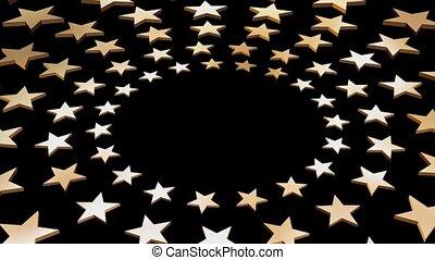 círculos, cinco, estrelas