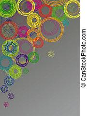 círculos, cinzento, abstratos, experiência colorida