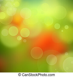círculos, color, resumen, confuso, fondo verde, rojo