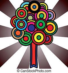 círculos, coloridos, árvore