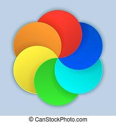 círculos, coloridos, abstratos, papel, vetorial, em branco, template.