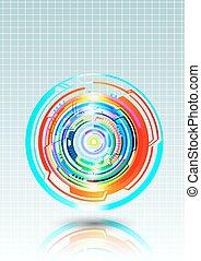 círculos, coloridos, abstratos, vetorial, fundo, tecnologia