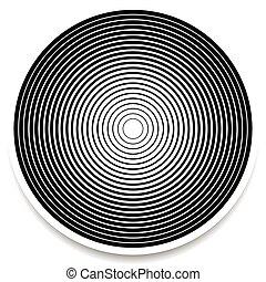 círculos concéntricos, anillos, resumen, geométrico, element., onda, impacto, efecto