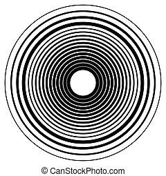 círculos concéntricos, círculos concéntricos, circular, pattern., resumen, negro y blanco, geométrico, elemento